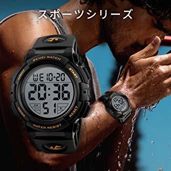 01-ゴールド 腕時計 メンズ デジタル スポーツ 50メートル防水 おしゃれ 多機能 LED表示 アウトドア 腕時計(ゴール_画像3
