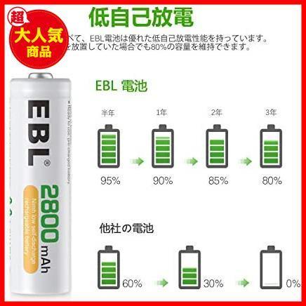 EBL 単3形充電池 充電式ニッケル水素電池 高容量2800mAh 16本入り ケース4個付き 約1200回使用可能 単三充電池_画像3