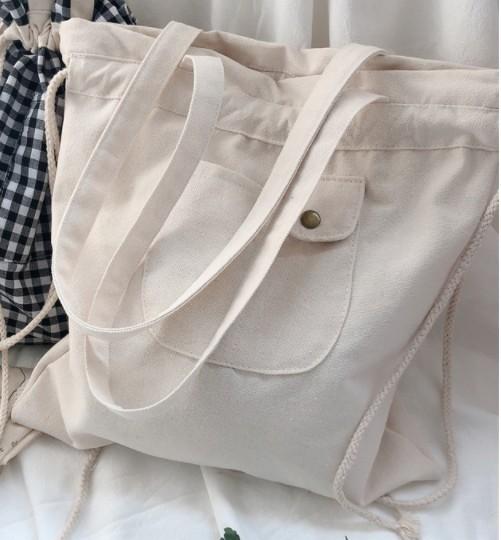 【匿名配送】韓国 キャンバス生地 トートバッグ エコバッグ 白 ホワイト ショルダーバッグ 巾着バッグ 生成り おしゃれ 通学