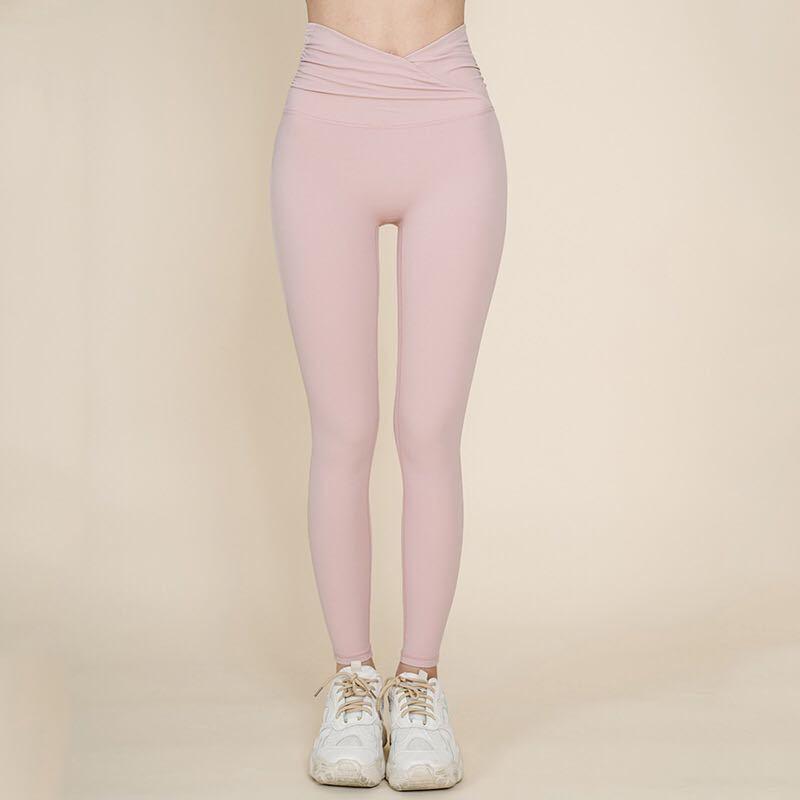 ヨガレギンス ヨガウェア 裸感 スポーツウェア ヨガパンツ Lサイズ 美脚 高品質 ピンク
