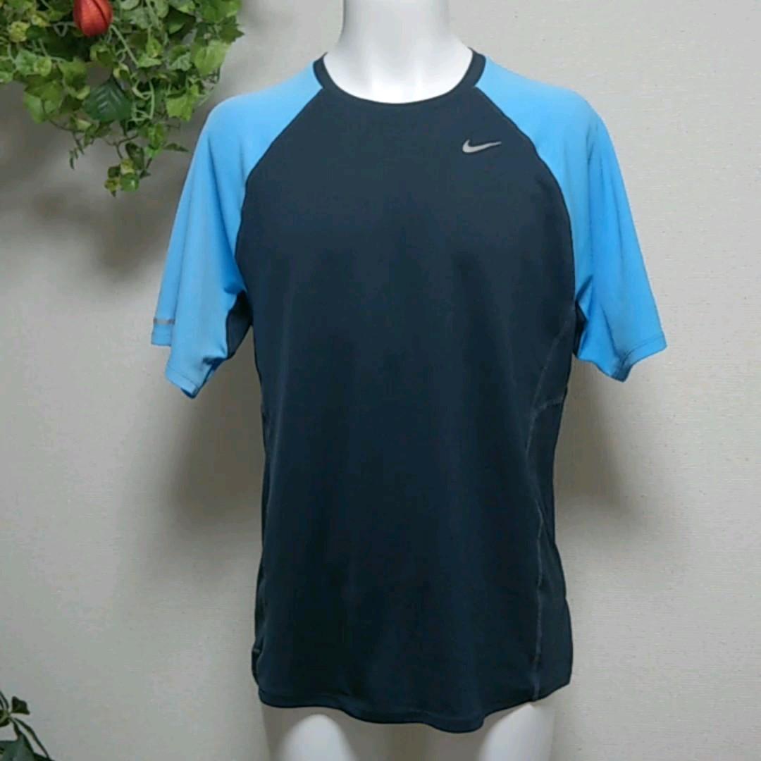 ナイキ 半袖TシャツL ブルー×黒 MILERモデルランニング・ジョギングに♪ DRY-FIT吸湿速乾ポリエステルで快適 NIKE