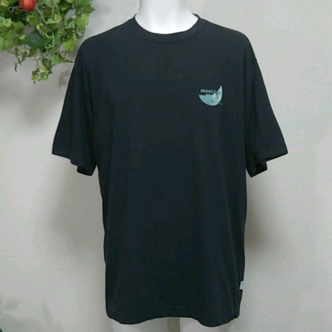 モンベル半袖TシャツXL 黒 mont-bell【MOONREFLECTS】反射する欠けた月が素敵! 高機能Breeze Spun