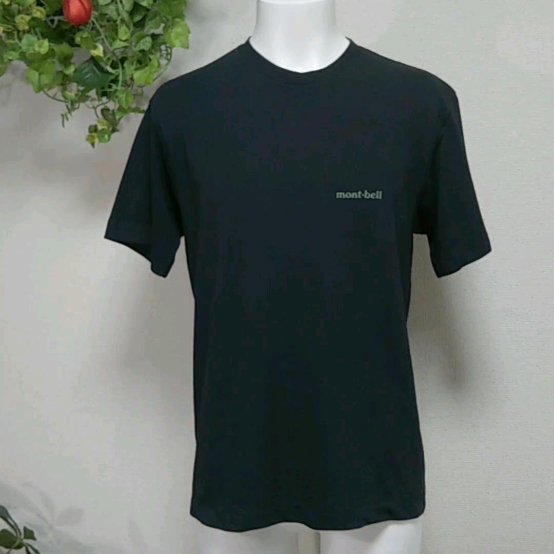 モンベル 半袖TシャツXS/S 黒 胸にmont-bellロゴプリント 吸湿速乾サラっとしたポリエステル素材で快適な肌触り!