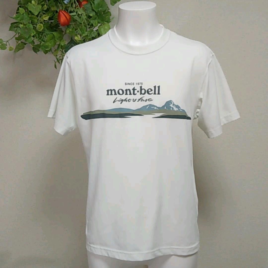 モンベル半袖TシャツM 白 吸湿速乾ポリエステル 薄手でさらっとした着心地 国内MONT-BELL正規品