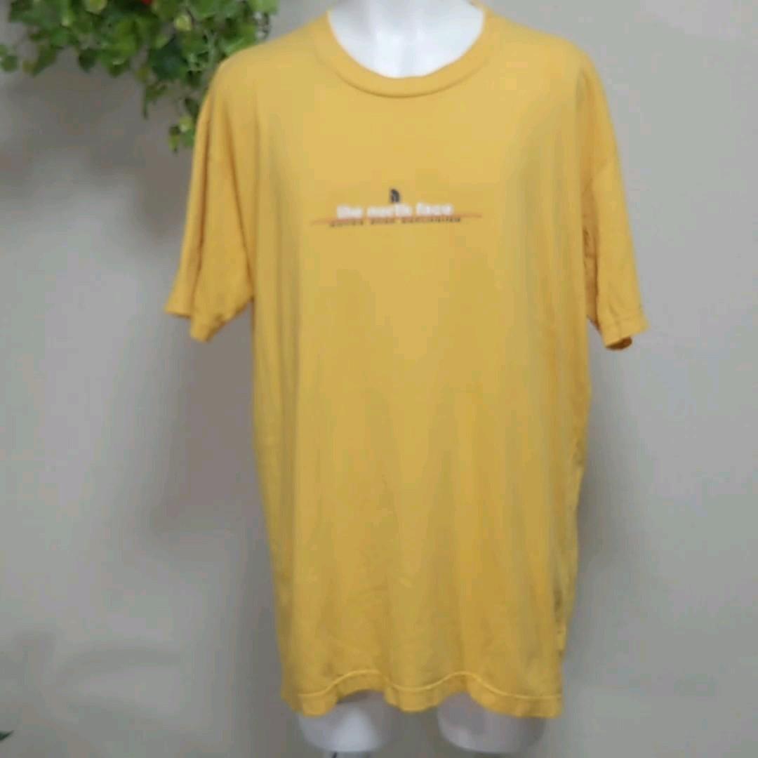 ノースフェイス半袖Tシャツ2XL オレンジ the north face NEVER STOP EXPLORINGプリント 正規品