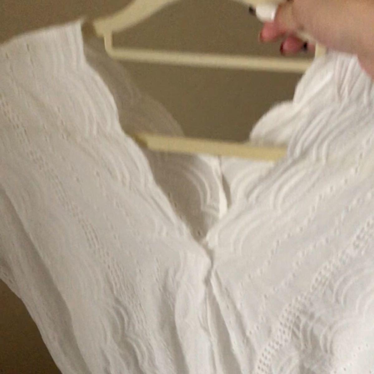 GU トップス レースブラウス フレンチスリーブT 白刺繍シースルー チュニック風 ウエストゴム絞り