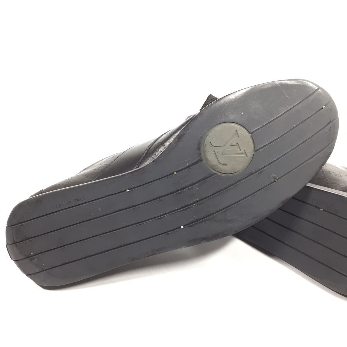 【ルイヴィトン】本物 LOUIS VUITTON 靴 28cm 黒 モノグラム スニーカー カジュアルシューズ 本革 レザー 男性用 メンズ イタリア製 9 1/2_画像4
