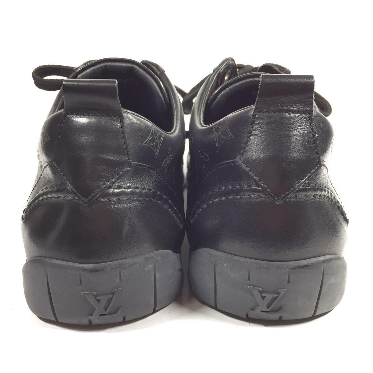 【ルイヴィトン】本物 LOUIS VUITTON 靴 28cm 黒 モノグラム スニーカー カジュアルシューズ 本革 レザー 男性用 メンズ イタリア製 9 1/2_画像3
