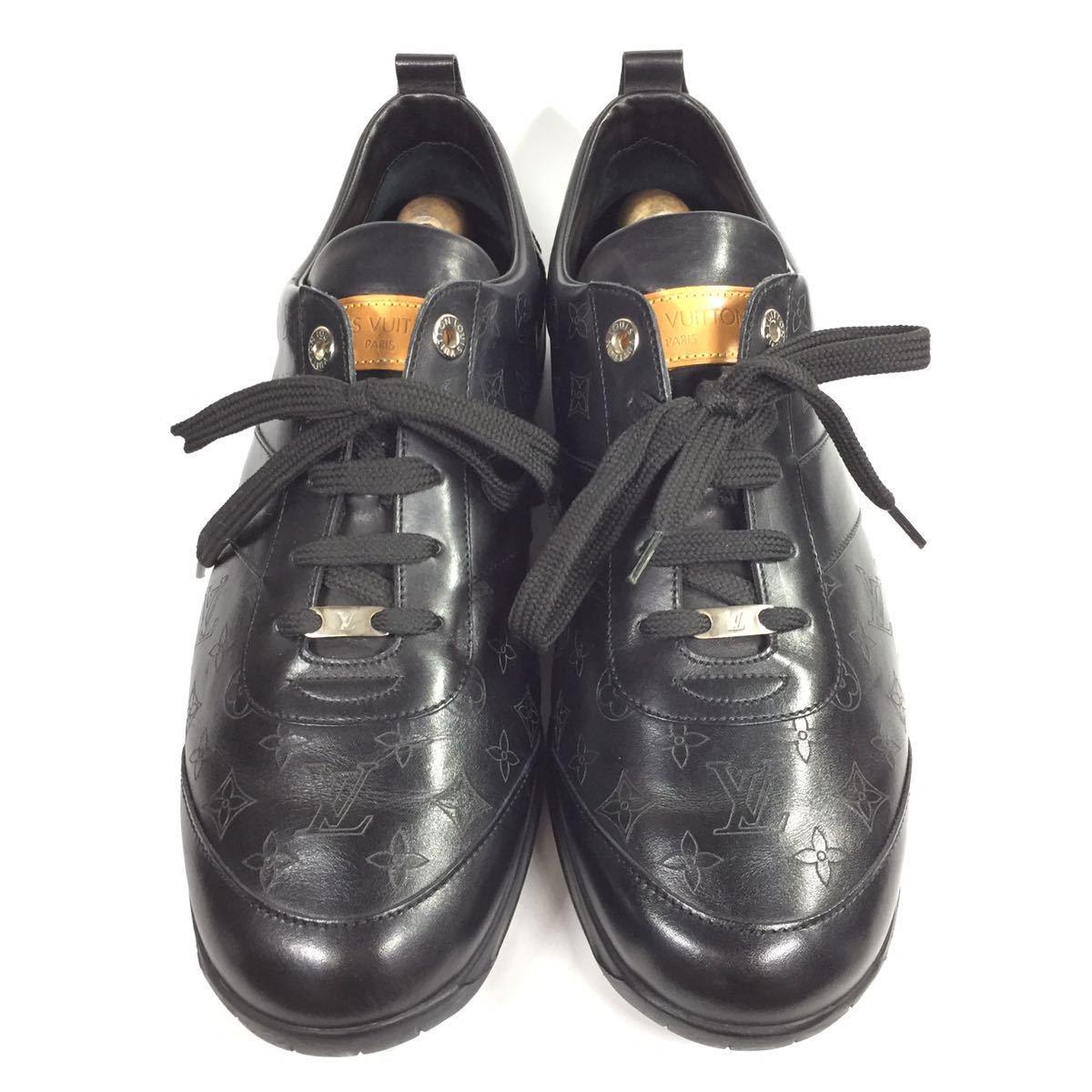 【ルイヴィトン】本物 LOUIS VUITTON 靴 28cm 黒 モノグラム スニーカー カジュアルシューズ 本革 レザー 男性用 メンズ イタリア製 9 1/2_画像2
