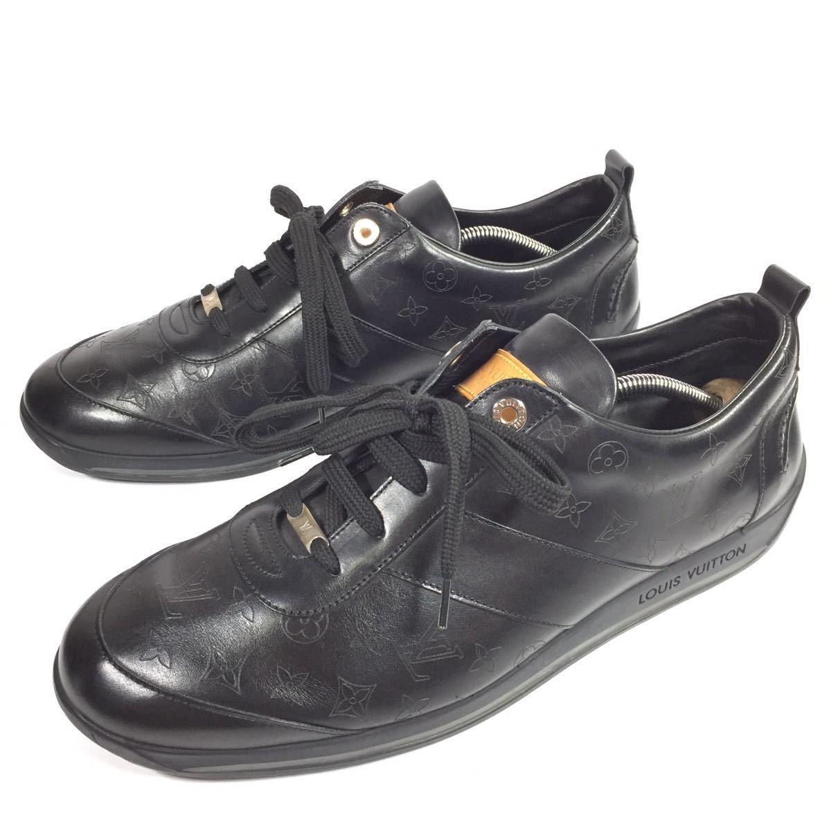 【ルイヴィトン】本物 LOUIS VUITTON 靴 28cm 黒 モノグラム スニーカー カジュアルシューズ 本革 レザー 男性用 メンズ イタリア製 9 1/2_画像1