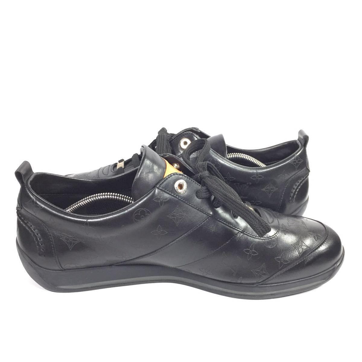 【ルイヴィトン】本物 LOUIS VUITTON 靴 28cm 黒 モノグラム スニーカー カジュアルシューズ 本革 レザー 男性用 メンズ イタリア製 9 1/2_画像7