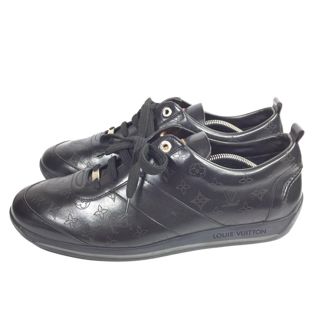 【ルイヴィトン】本物 LOUIS VUITTON 靴 28cm 黒 モノグラム スニーカー カジュアルシューズ 本革 レザー 男性用 メンズ イタリア製 9 1/2_画像6