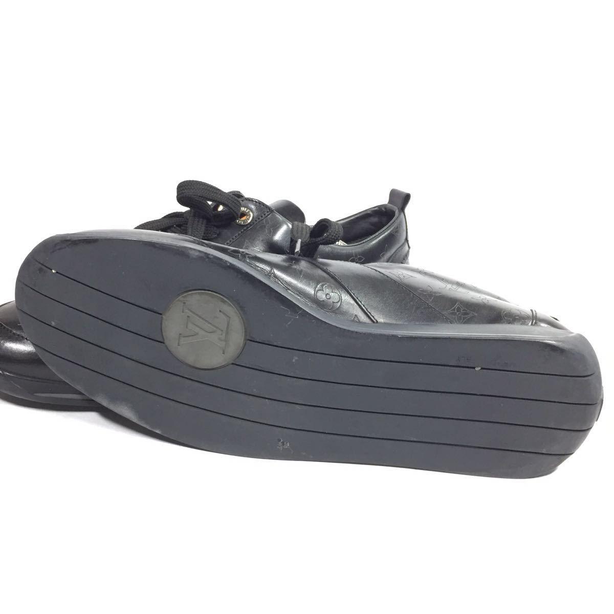 【ルイヴィトン】本物 LOUIS VUITTON 靴 28cm 黒 モノグラム スニーカー カジュアルシューズ 本革 レザー 男性用 メンズ イタリア製 9 1/2_画像5