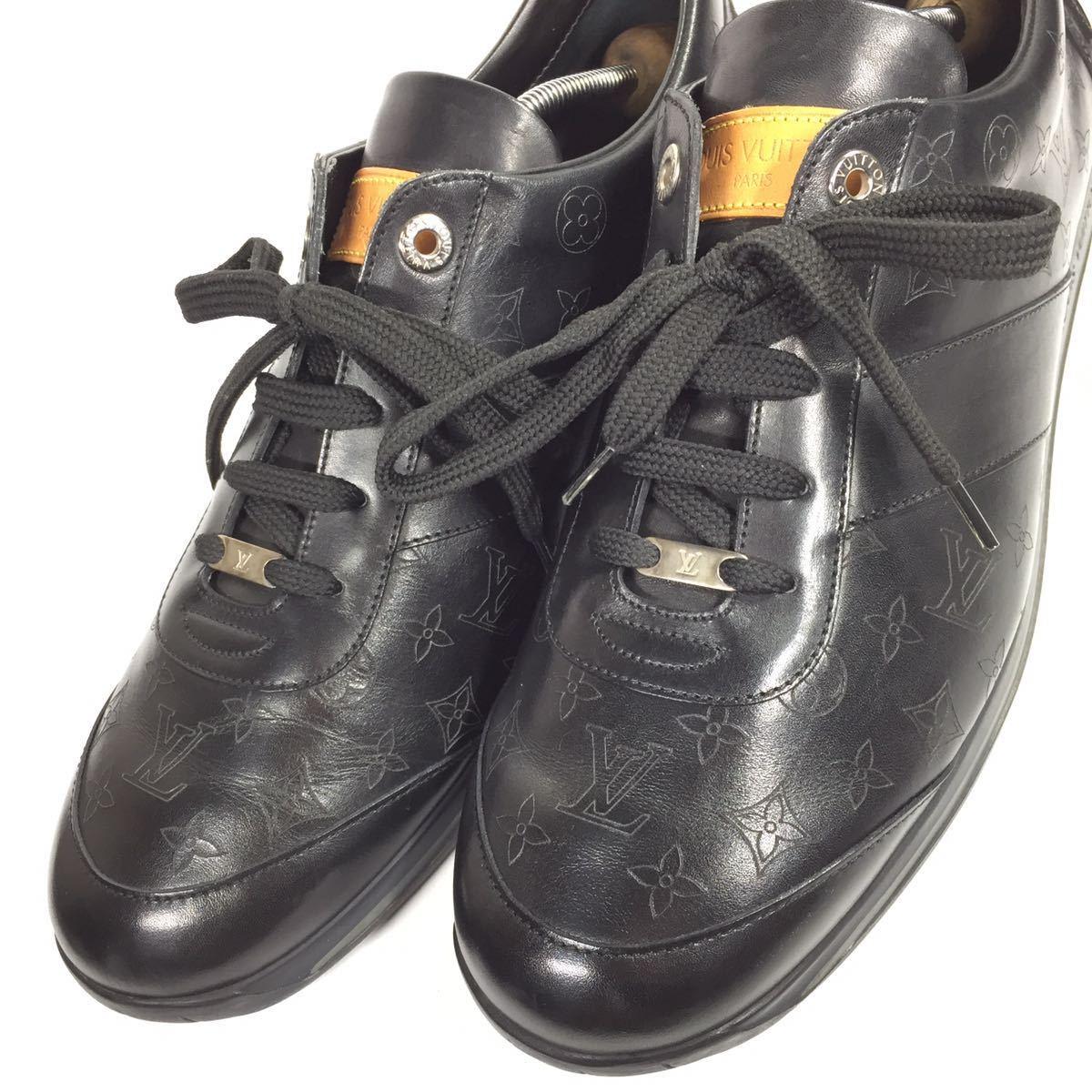 【ルイヴィトン】本物 LOUIS VUITTON 靴 28cm 黒 モノグラム スニーカー カジュアルシューズ 本革 レザー 男性用 メンズ イタリア製 9 1/2_画像8