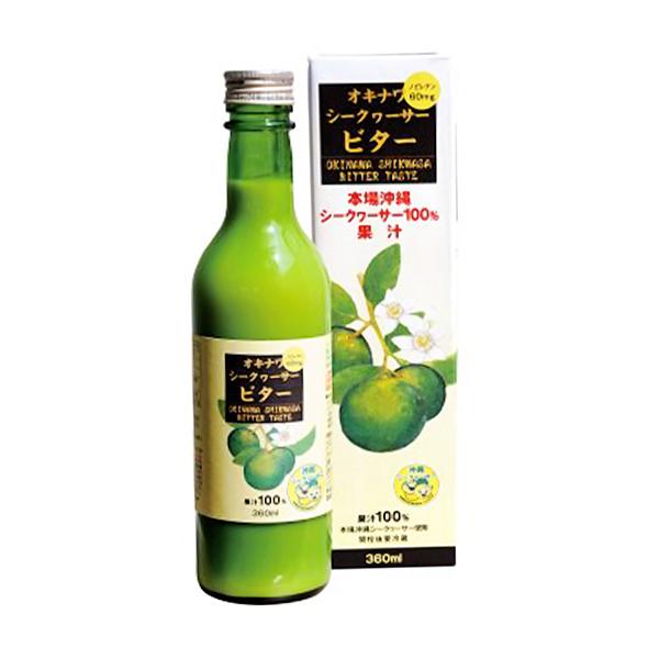 沖縄県産シークワーサー100%果汁 ノビレチン216mg 沖縄シークヮーサービター 360ml_画像1