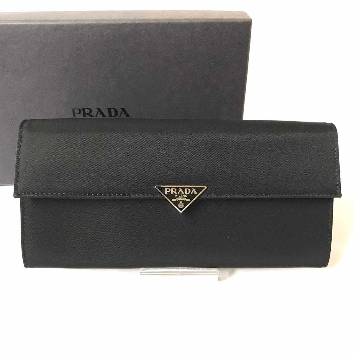 ▽▼【美品】PRADA プラダ 二つ折り長財布 ナイロンレザー 三角プレート 1M1037 TESSUTO
