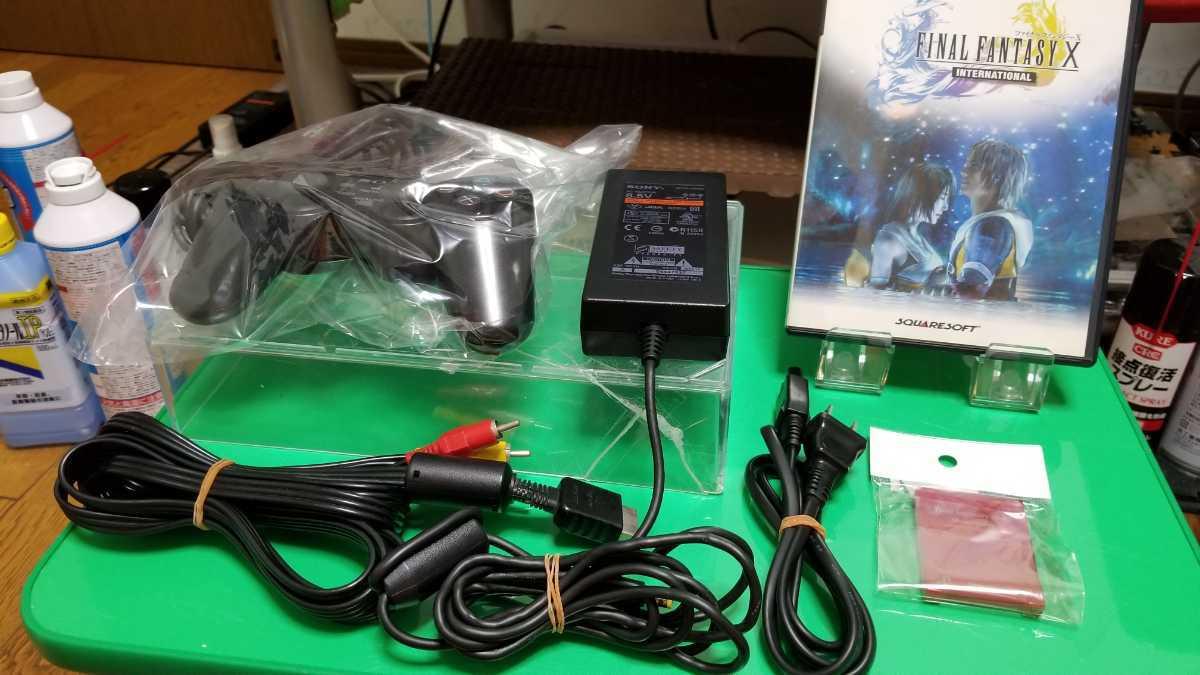 SONY 純正品 ACアダプター 電源コード PS2 プレステ2 薄型対応+黒コントローラー+ 3色コード +メモリーカードセット おまけソフト1本!_画像1