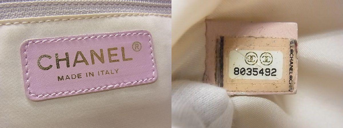 1円 CHANEL シャネル ココマーク ニュートラベルライン ナイロンキャンバス×レザー トートバッグ ショルダー 肩掛け ピンク系 Y3881UM_画像10