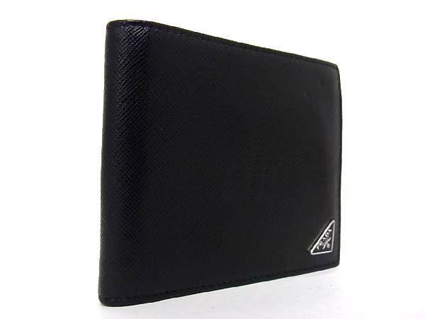 1円 ■美品■ PRADA プラダ サフィアーノレザー シルバー金具 二つ折り 財布 ウォレット