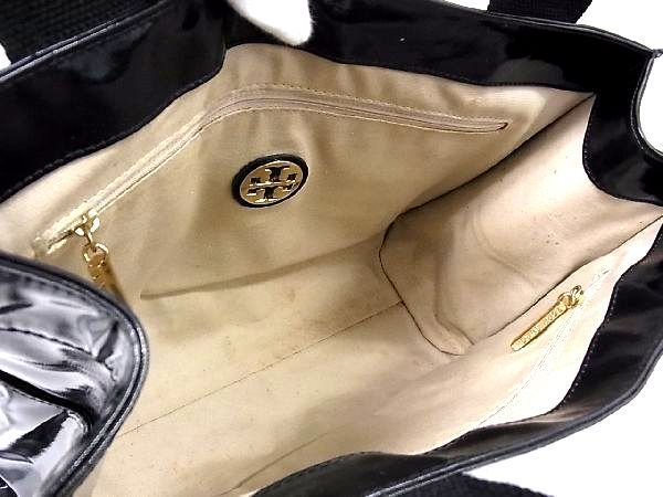 1円 TORY BURCH トリーバーチ パテントレザー ゴールド金具 トートバッグ ハンドバッグ 手提げかばん レディース ブラック系 Q0245QM_画像8