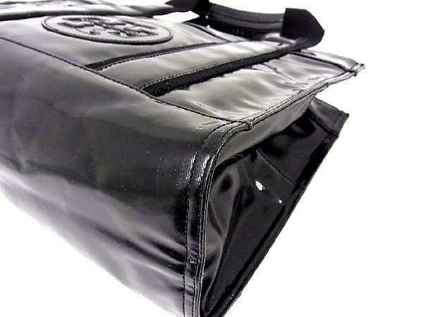 1円 TORY BURCH トリーバーチ パテントレザー ゴールド金具 トートバッグ ハンドバッグ 手提げかばん レディース ブラック系 Q0245QM_画像7