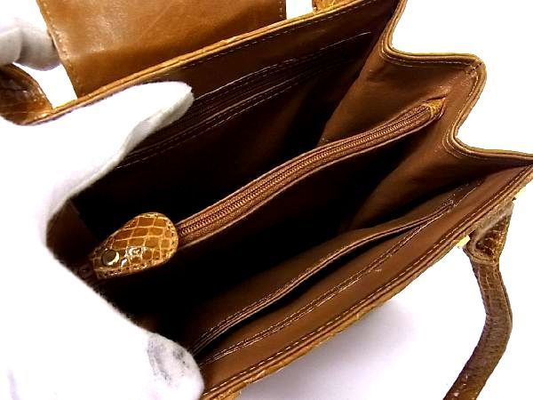 1円 ■極上■本物■美品■ クロコダイル ゴールド金具 トートバッグ ハンドバッグ 手提げかばん レディース ブラウン系 M7409Kk_画像8