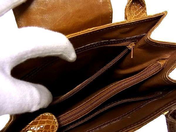 1円 ■極上■本物■美品■ クロコダイル ゴールド金具 トートバッグ ハンドバッグ 手提げかばん レディース ブラウン系 M7409Kk_画像9