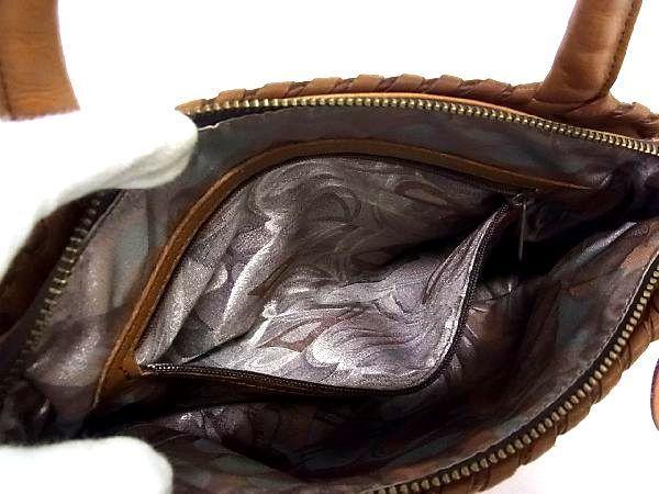 1円 ■美品■ IBIZA イビザ レザー パッチワーク ハンドバッグ トートバッグ 手提げ 手持ちかばん レディース ブラウン系 Q3175アM_画像9