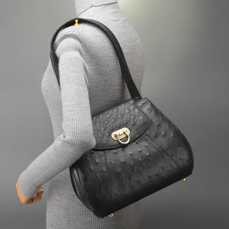 1円 未使用 極美品 JRA認定 オーストリッチ ショルダーバッグ ハンドバッグ ダチョウ レザー ブラック 自立 肩掛け 正規品 日本製 鞄 Mk.c_画像10