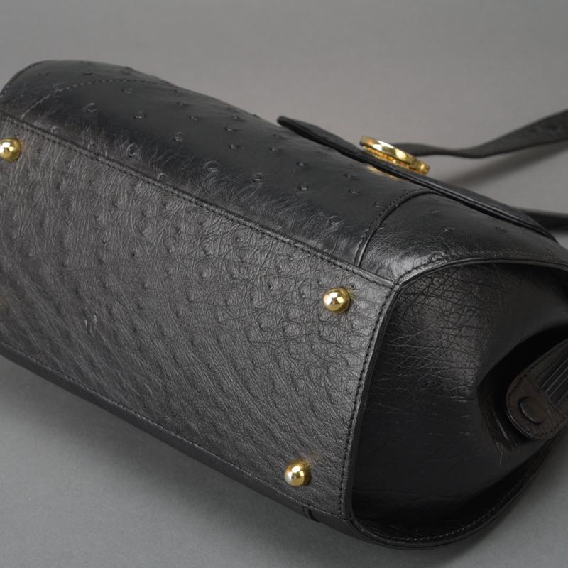 1円 未使用 極美品 JRA認定 オーストリッチ ショルダーバッグ ハンドバッグ ダチョウ レザー ブラック 自立 肩掛け 正規品 日本製 鞄 Mk.c_画像4