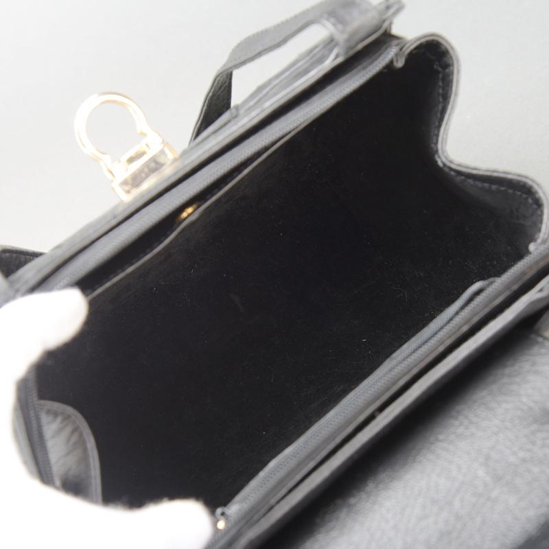 1円 未使用 極美品 JRA認定 オーストリッチ ショルダーバッグ ハンドバッグ ダチョウ レザー ブラック 自立 肩掛け 正規品 日本製 鞄 Mk.c_画像9