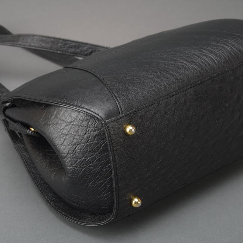 1円 未使用 極美品 JRA認定 オーストリッチ ショルダーバッグ ハンドバッグ ダチョウ レザー ブラック 自立 肩掛け 正規品 日本製 鞄 Mk.c_画像5