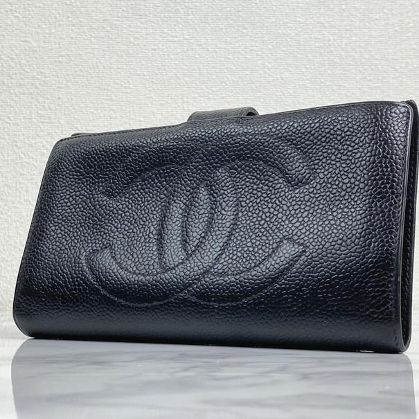 美品 1円 シャネル 二つ折り がま口 財布 キャビアスキン ブラック 財布 CHANEL レディー