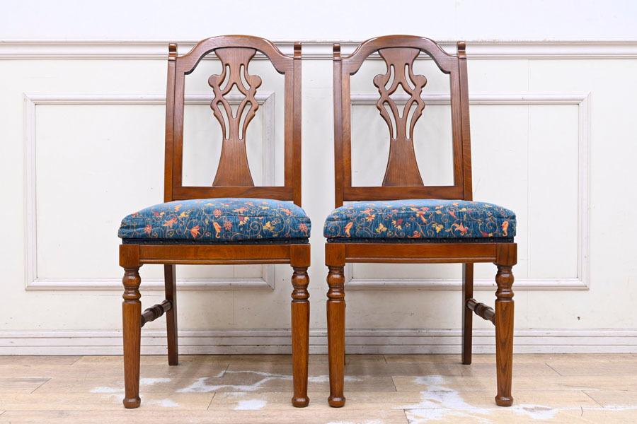 DI182 三越家具 ブルージュ Brugge 英国調 クラシック ダイニングチェア 食卓椅子 2脚セット 椅子2脚とテーブルは別売り_画像2