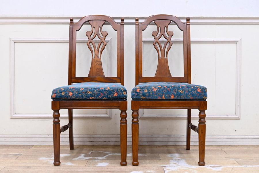 DI183 三越家具 ブルージュ Brugge 英国調 クラシック ダイニングチェア 食卓椅子 2脚セット 椅子2脚とテーブルは別売り_画像2