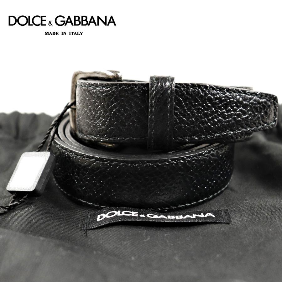 相場価格¥54,000- 新品 タグ付 イタリア製 D&G DOLCE&GABBANA ドルチェ&ガッバーナ スクエアバックル 牛革レザー ベルト 36 JP:XL-XXL
