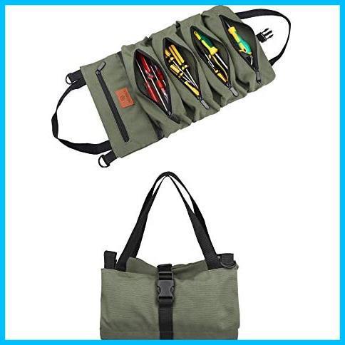 【最安】 5つポケット 工具ケース 工具差し入れ 工具袋 多目的ツールロール T1867 ロール レンチロールポーチ ツールケース ツールバッグ_画像2