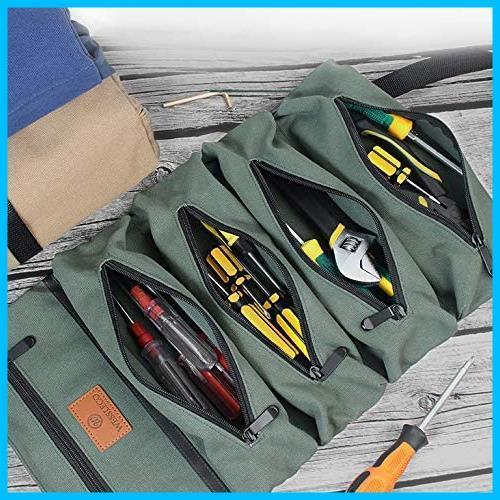 【最安】 5つポケット 工具ケース 工具差し入れ 工具袋 多目的ツールロール T1867 ロール レンチロールポーチ ツールケース ツールバッグ_画像8