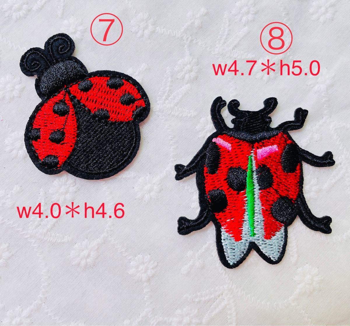 刺繍 アイロンワッペン てんとう虫ワッペン 3枚セット 8種類から選べる
