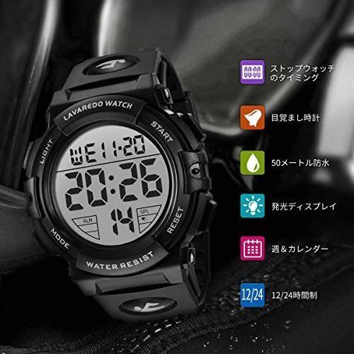 腕時計 メンズ デジタル スポーツ 50メートル防水 おしゃれ 多機能 LED表示 アウトドア 腕時計(ブラック)_画像2