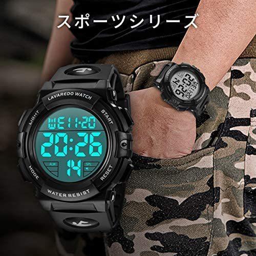 腕時計 メンズ デジタル スポーツ 50メートル防水 おしゃれ 多機能 LED表示 アウトドア 腕時計(ブラック)_画像3