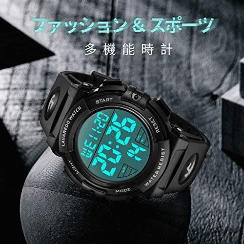 腕時計 メンズ デジタル スポーツ 50メートル防水 おしゃれ 多機能 LED表示 アウトドア 腕時計(ブラック)_画像5