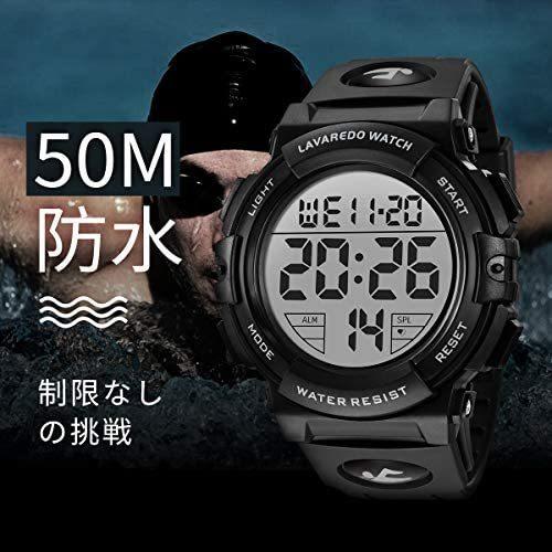 腕時計 メンズ デジタル スポーツ 50メートル防水 おしゃれ 多機能 LED表示 アウトドア 腕時計(ブラック)_画像6