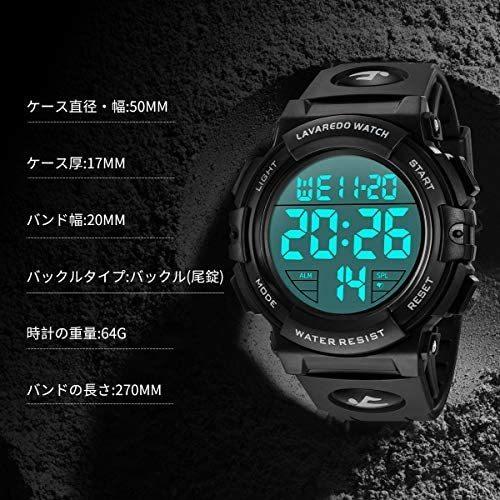 腕時計 メンズ デジタル スポーツ 50メートル防水 おしゃれ 多機能 LED表示 アウトドア 腕時計(ブラック)_画像7