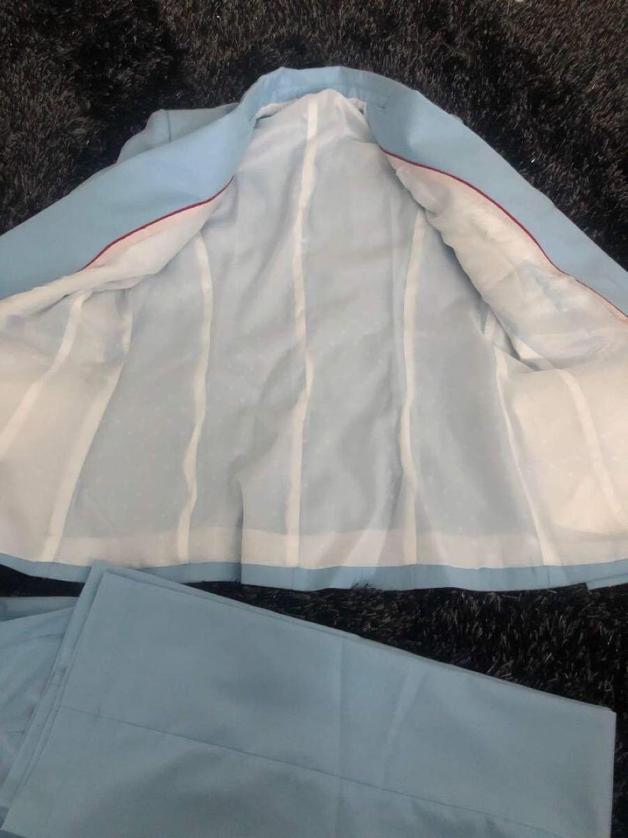 レディーススーツ テーラードジャケット ブルー セットアップスーツ パンツスーツ 上下セット