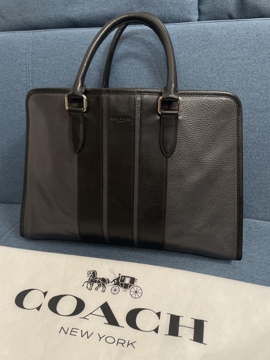 COACH MEN 参考価格14万 シボ レザー 牛革 ビジネスバッグ トートバッグ 最落なし 1円スタート ネイビーブラック