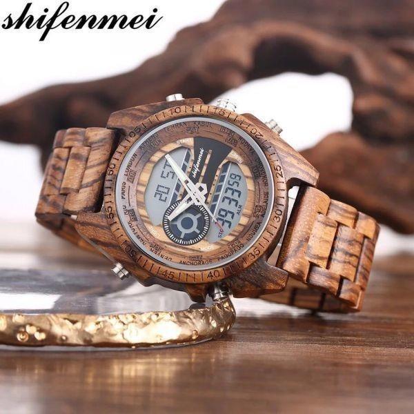 〇注目商品〇 木製腕時計 スポーツクォーツメンズウォッチ トップブランド 高級 LED デジタル時計 木製腕時計 男性レロジオ_画像1