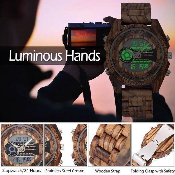 〇注目商品〇 木製腕時計 スポーツクォーツメンズウォッチ トップブランド 高級 LED デジタル時計 木製腕時計 男性レロジオ_画像3