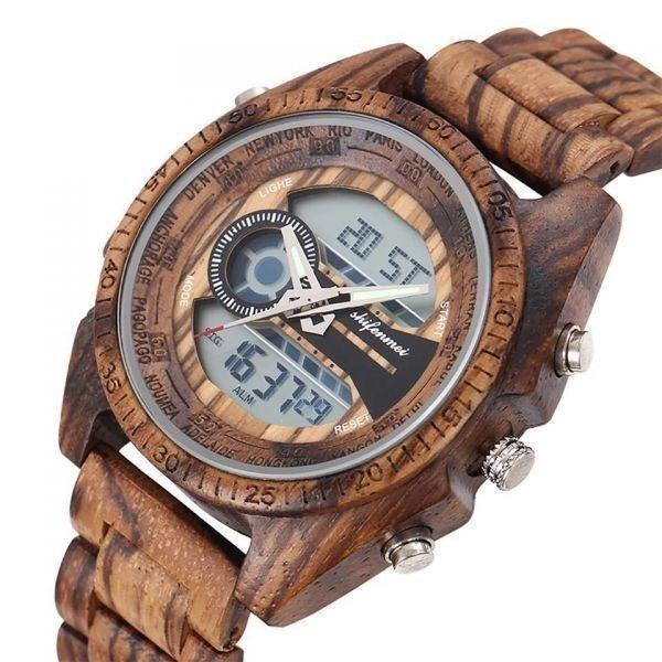 〇注目商品〇 木製腕時計 スポーツクォーツメンズウォッチ トップブランド 高級 LED デジタル時計 木製腕時計 男性レロジオ_画像2