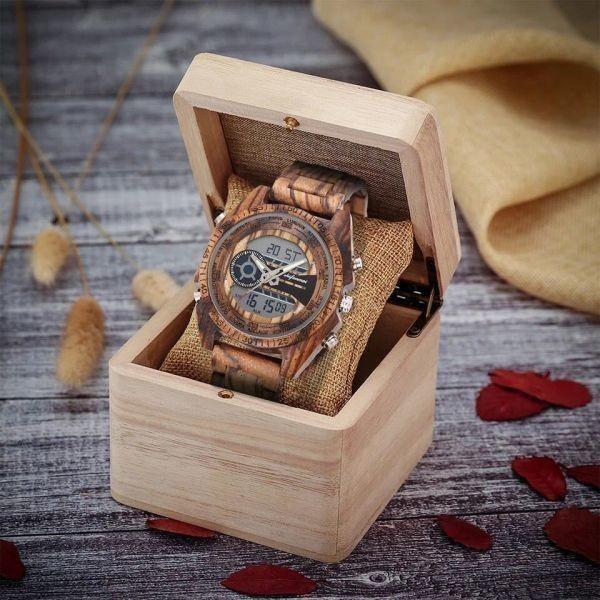 〇注目商品〇 木製腕時計 スポーツクォーツメンズウォッチ トップブランド 高級 LED デジタル時計 木製腕時計 男性レロジオ_画像5